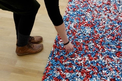 Felix Gonzalez Torres, Untitled (USA Today). Candies individually wrapped in red, silver, and blue cellophane