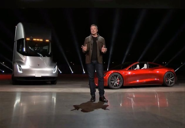 Elon Musk unveils the new Tesla vehicles: Roadster supercar and Semi truck